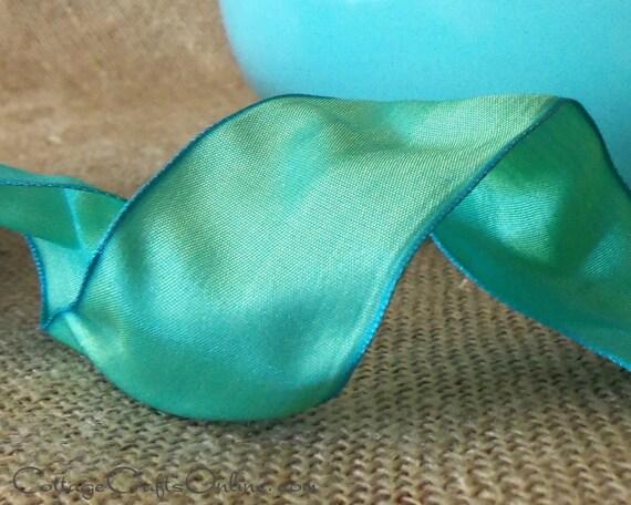 "Wired Ribbon, 1 1/2"" Blue Green Gelato - TWENTY FIVE YARD Roll - Offray ""Gelato Celadon"" Aqua, Turquoise Craft Wire Edged Ribbon"