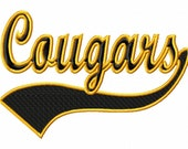 Cougars - Swoosh - Outline - Machine Embroidery Design - 11 Sizes