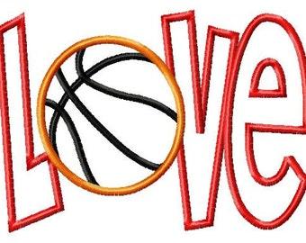 LOVE - Basketball - Applique - Machine Embroidery Design -  8 sizes