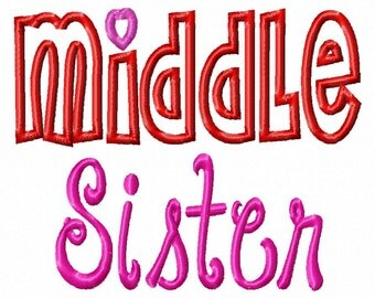 MIDDLE Sister - Hearts-Applique - Machine Embroidery Design -7 Sizes