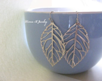 Filligree Leaf Earrings, Silver Dangle Earrings