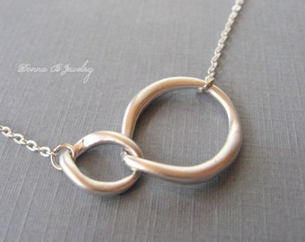 Eternity Silver Necklace, Infinity Double Link Necklace