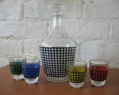 Vintage Decanter and Shot Glasses - Hounds Tooth - France