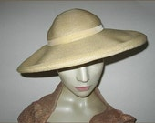 Classic Vintage Wide Brim Straw Hat Natural Fine Weave Cream Velvet Ribbon Size 22