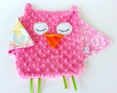 Owl Taggie Security Blanket -  Pink Lovey Blanket - OurPicketFence