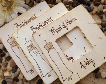 Set of 11 Bridesmaid Favors Wedding Thank you Gifts for your Girls Rustic Chic Frames with YOUR Dress