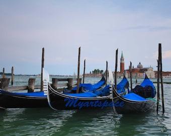 Gondolas Venice print CLEARANCE SALE San Marco gondolas home decor Venetian art print  romantic Venice architecture