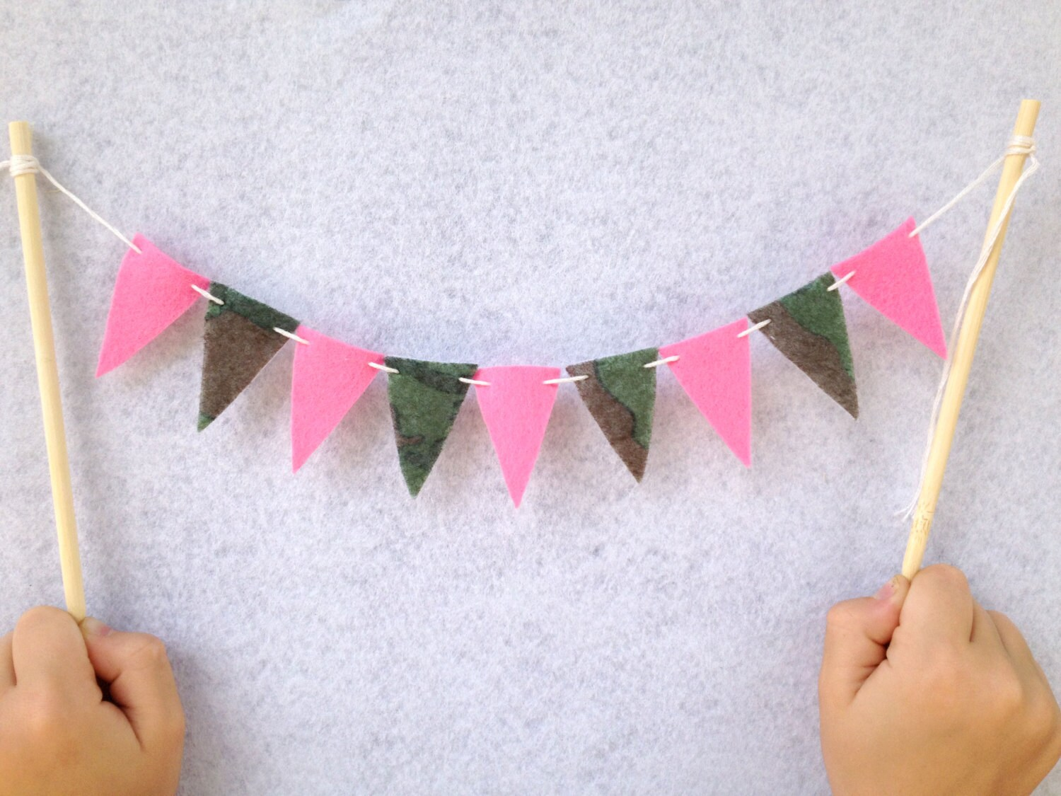 Camo and Pink Cake Bunting Pink and Camouflage by