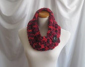 Cowl Neck Warmer Button Cowl: Shades of Red and Black with Black Button