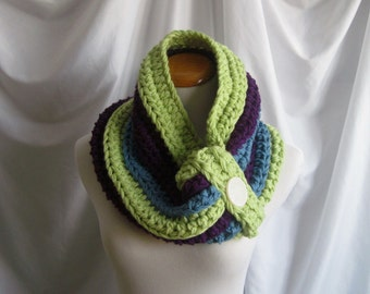 Cowl Chunky Button Bulky Crochet Cowl:  Light Fern Green, Purple & Blue with Off White Button
