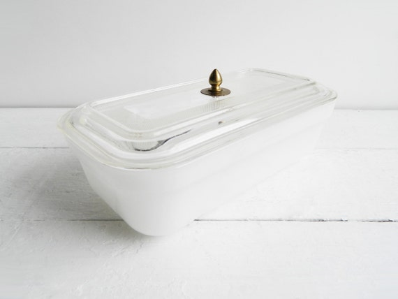 Vintage Fire King White Refrigerator Dish with Handle
