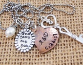 Hand Stamped Personalized Necklace - Wife necklace - Couple's necklace - Mothers Necklace -  God Gave Me You Necklace -
