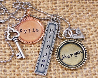 Custom Mother's Necklace - Mixed Metal Necklace - Mommy necklace - Name Necklace - Mom Christmas Gift - Hand Stamped