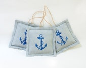 Set of 3 Lavender Sachets , Blue Anchor Lavender Sachets, Summer Home Decor, Scented Sachets, Aromatherapy, Anchor - MyHouseOfDreams