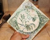 Spoon Rest Ceramic Spoon Rest Garden Imprint Key Dish Key Bowl