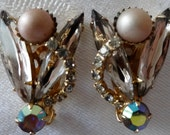 Earrings clip rhinestones and faux pearl vintage glam