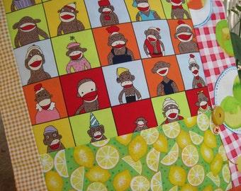 "14 x 14 "" Cotton Pillow Cover - Sock Monkeys Have a Fruit Picnic"
