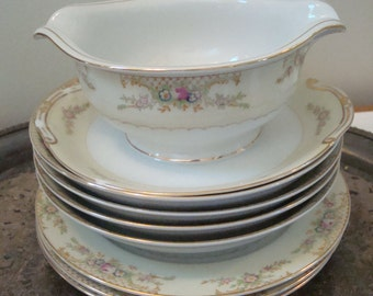 Grace china made in Japan yellow band pink rose blue floral gravy boat large soup bowls small plates