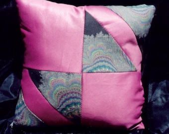 Bright pink pillow with fractal photo print