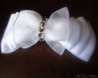ON SALE Girls white Bow. Dreamy White flower girls bow with Swarovski crystals- Flower Girls / Bridesmaids bow-Dreamy bows Collection-White