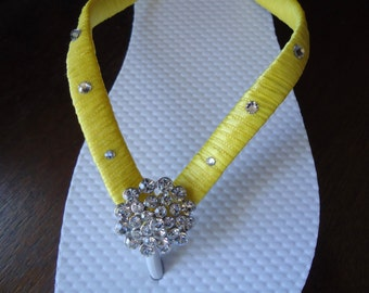 Yellow Flip Flops. Bridal  flip flops w/ Swarovski Crystals. Wedding yellow flip flops. Bridal Party -Other colors available-BELLA-