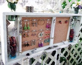 "Jewelry Organizer Wall Display Shelf Message Board..""Antique White over Tan"" or You Choose Color...."