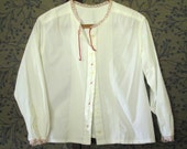 Peasant Blouse womens white peasant top upcycled clothing repurposed altered white cotton shirt gypsy clothing pin tucks embroidered lace