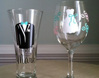 Bride and Groom Personalized Wine/Beer Wedding Pilsner and Wine Glasses