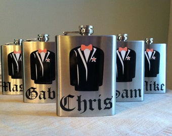 3 Groomsman Flasks Personalized Stainless Steel 8 oz. Wedding Gift Party