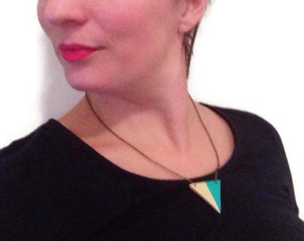 Turquoise color blocked triangle necklace, geometric necklace, leather triangle necklace