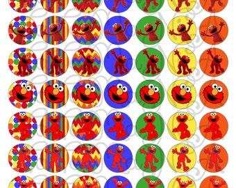 Elmo 1 inch circles Digital Collage Sheet.