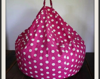 SUPER SALE - Ready to ship - P I N K - Pink and White Polka Dot Bean Bag Chair Cover