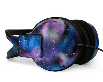 Galaxy headphones birthday gift for her custom Space Nebula unique gift for him hand painted best friend gift sound music lover accessories