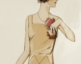 Elegant 1920s dress sewing pattern. Elegant, simple lines with asymmetrical skirt