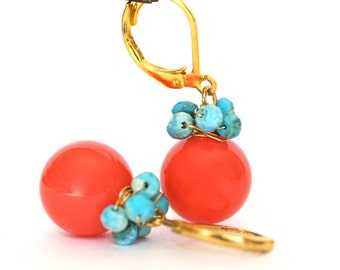 Beach Dangle Earrings Orange Coral and Turquoise Gold