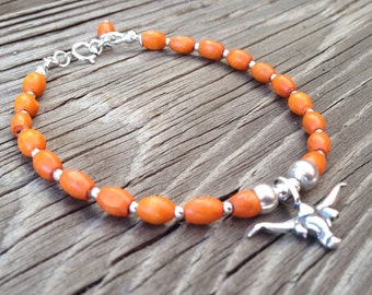 Orange Bracelet - Longhorn Jewelry - Sterling Silver Jewellery - UT - Wooden Beads - Bevo - University of Texas - College Football - Mascot