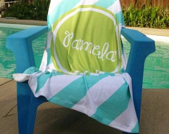Personalized Beach Towel 30x60 - Diagonal Stripes