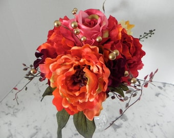 Fall Wedding Bouquet, Silk, Bridal flower package  4 Pieces, Jewel Tones , Roses, Dahlias ,Peonies ,Maid's  Bouquet, 2 Boutonnieres  BB#102
