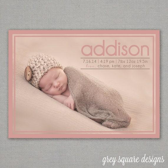 Custom Photo Baby Announcement