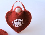 Red heart ornament pocket doll hand embroidered waldorf decor valentine sweetheart