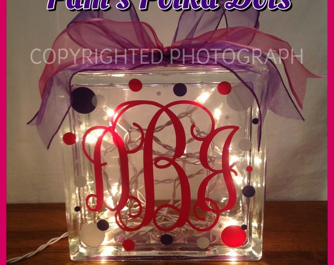 Customized LIGHTED GLASS BLOCK with Monogram, Polka Dots & Ribbon Baby or Bridal Shower Engagement Wedding Gift