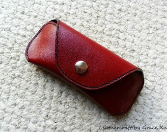 100% handmade hand stitched red cowhide leather eyeglasses / sunglasses case