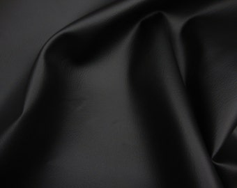 Black 2 Way Stretch Upholstery Faux Leather vinyl fabric per yard