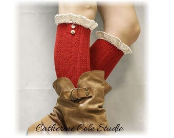 Lace boot socks SWISS LACE in red tall knee socks women, lace cuff socks,leg warmers, lace ankle socks, cuffs w buttons Catherine Cole BKS9