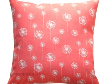 Coral Accent Pillows, Coral Small Dandelion Pillow Cover, Coral Pillow Case, Zippered Pillow, Cushion Cover, Spring Decor, Floral Pillows
