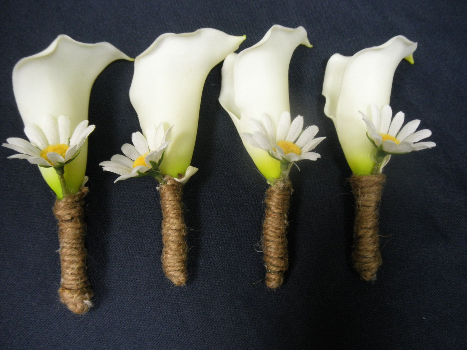 4 Pc Set GROOM BOUTONNIERE. White CALLA Lily And Daisy. Burlap
