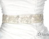 SALE Michelle  Swarvoski rhinestone beaded flowers bridal sash belt A157-40