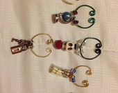 """Customizable Wine Charms and Coffee Mug Charms for Garden Parties, Fetes, Office Meetings, Wedding Gifts, """"Adventure"""" theme"""