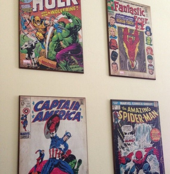 Marvel Wood Wall Decor : Marvel wall decor plaque set of hulk by thebeautyisbeautiful