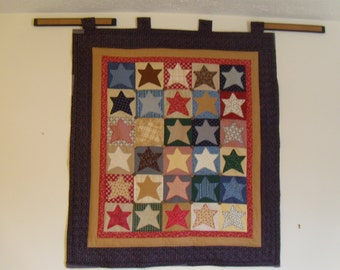 Multiple Colored Star Hanging Quilt